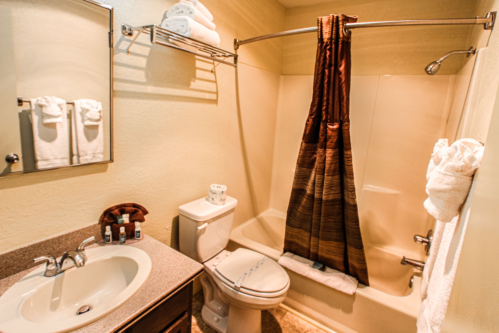A clean bathroom at VRI's Crown Point Condominiums in New Mexico.