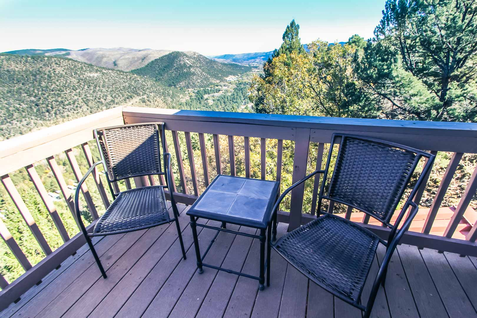 A tranquil patio deck view at VRI's Crown Point Condominiums in New Mexico.