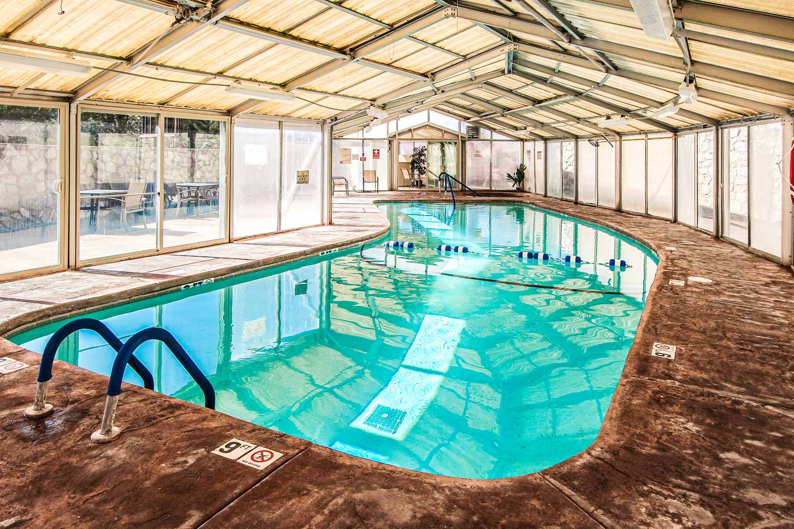 An expansive indoor swimming pool at VRI's Crown Point Condominiums in New Mexico.