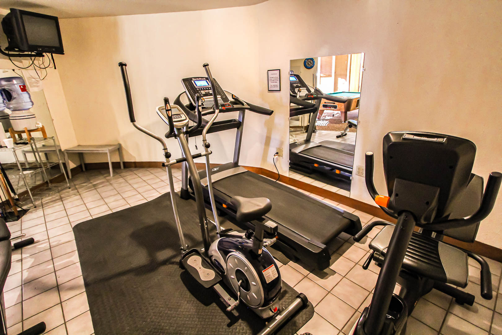 A standard indoor gym at VRI's Crown Point Condominiums in New Mexico.