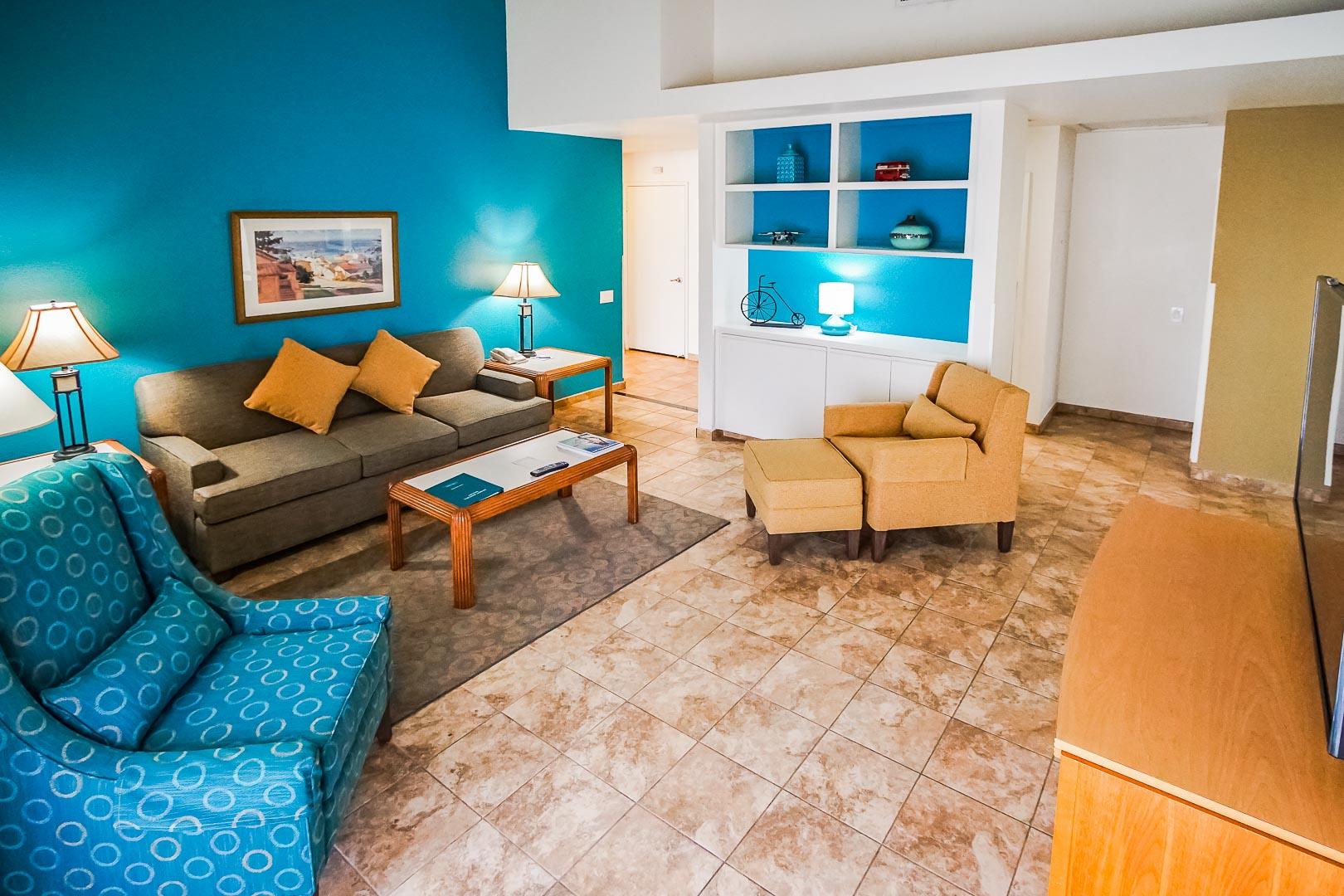 A colorful living room at VRI Americas' Desert Breezes Resort in California.