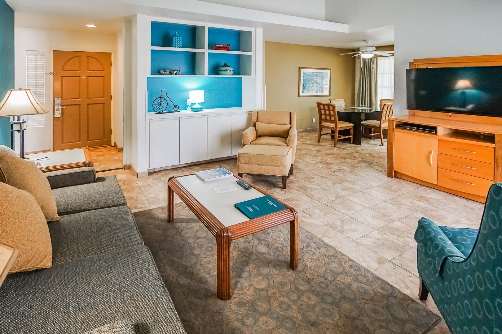 A charming living room at VRI Americas' Desert Breezes resort in California