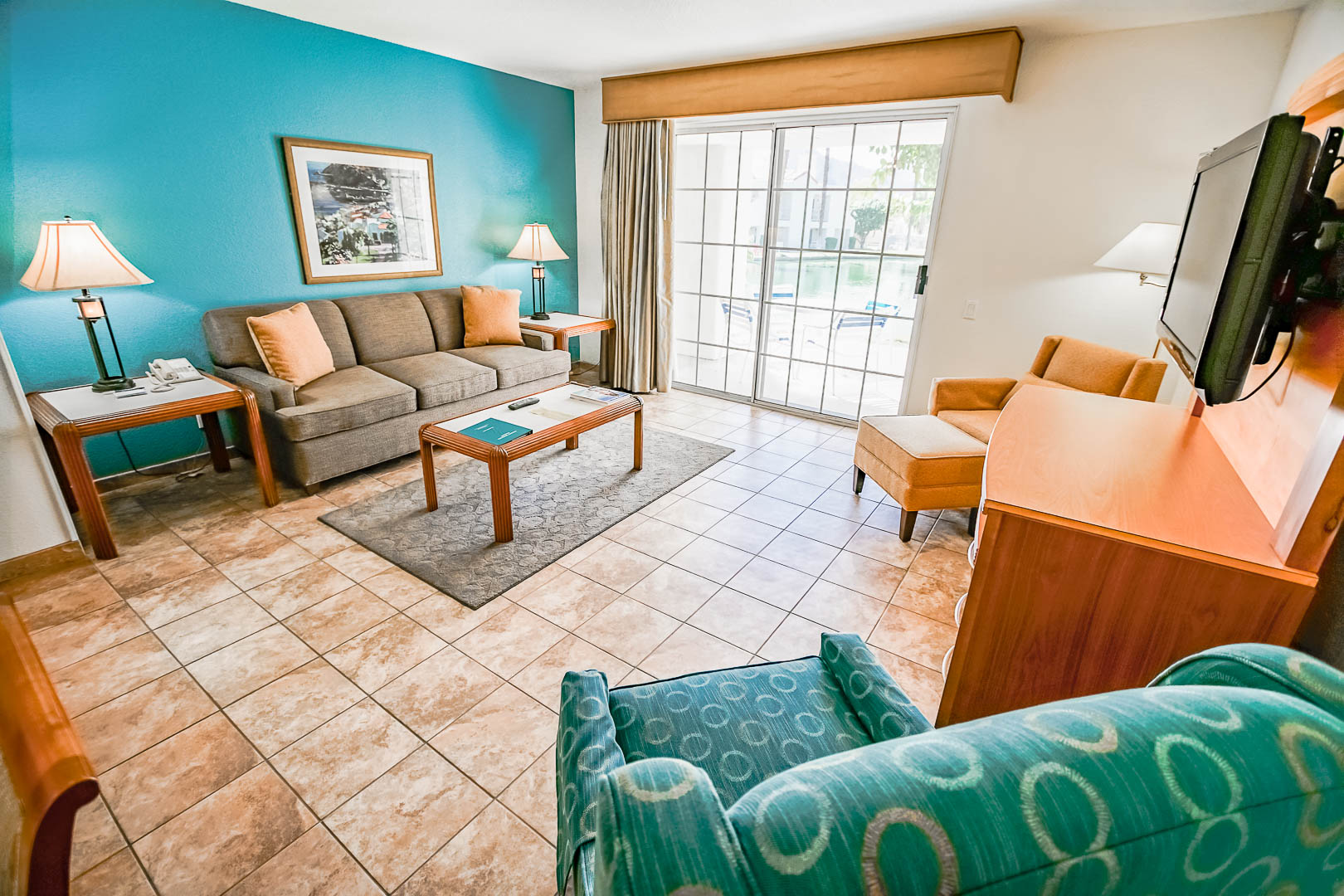 A spacious living room at VRI Americas' Desert Breezes Resort in California