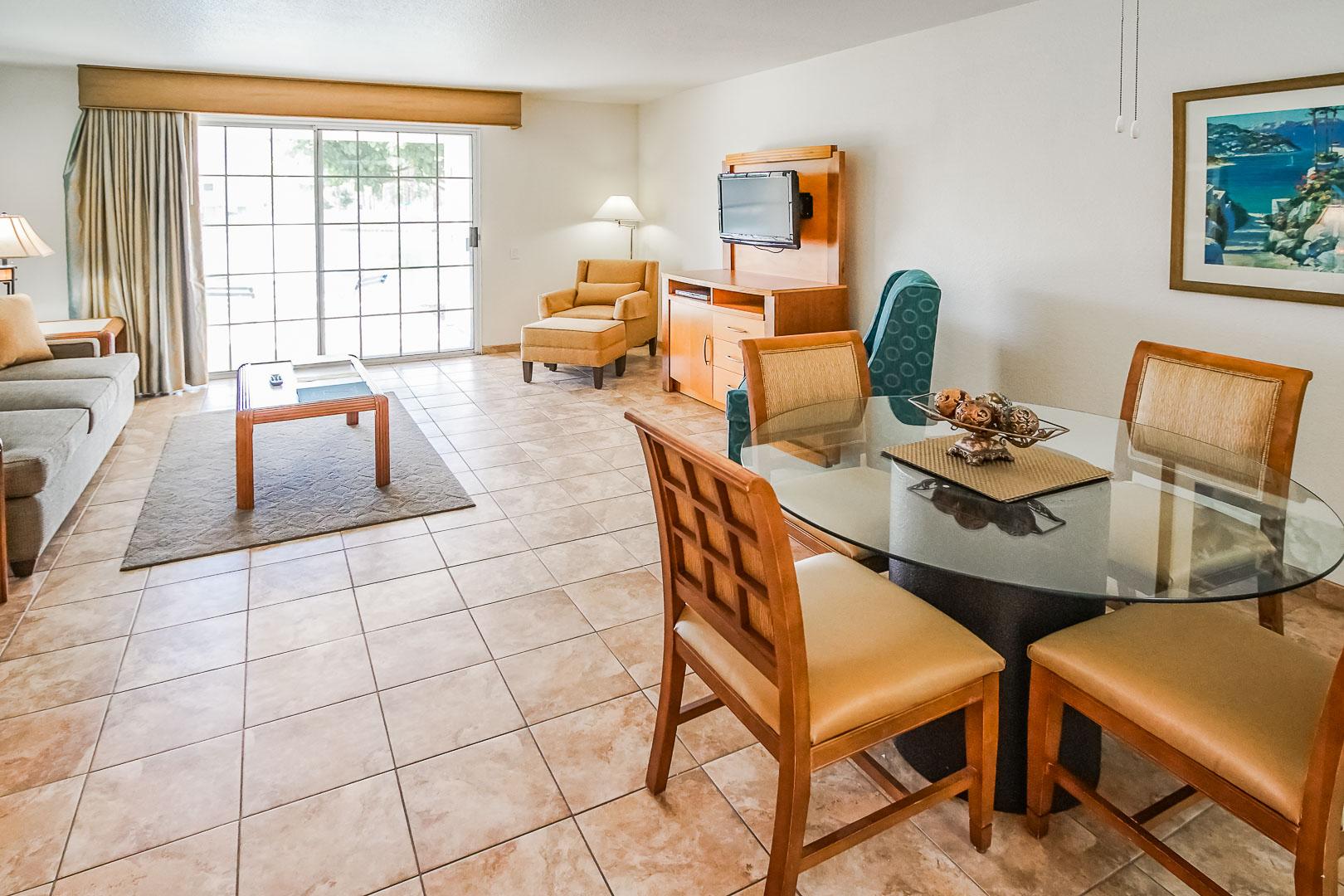 An expansive living room area at VRI Americas' Desert Breezes Resort in California