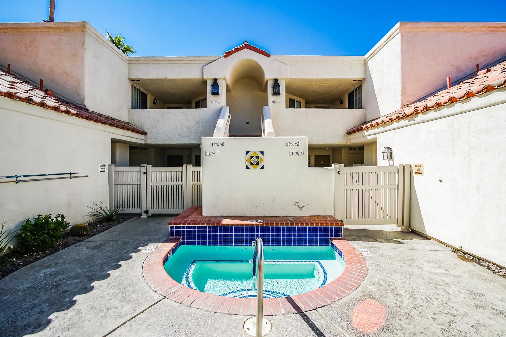 A scenic patio area at VRI Americas' Desert Breezes Resort in California