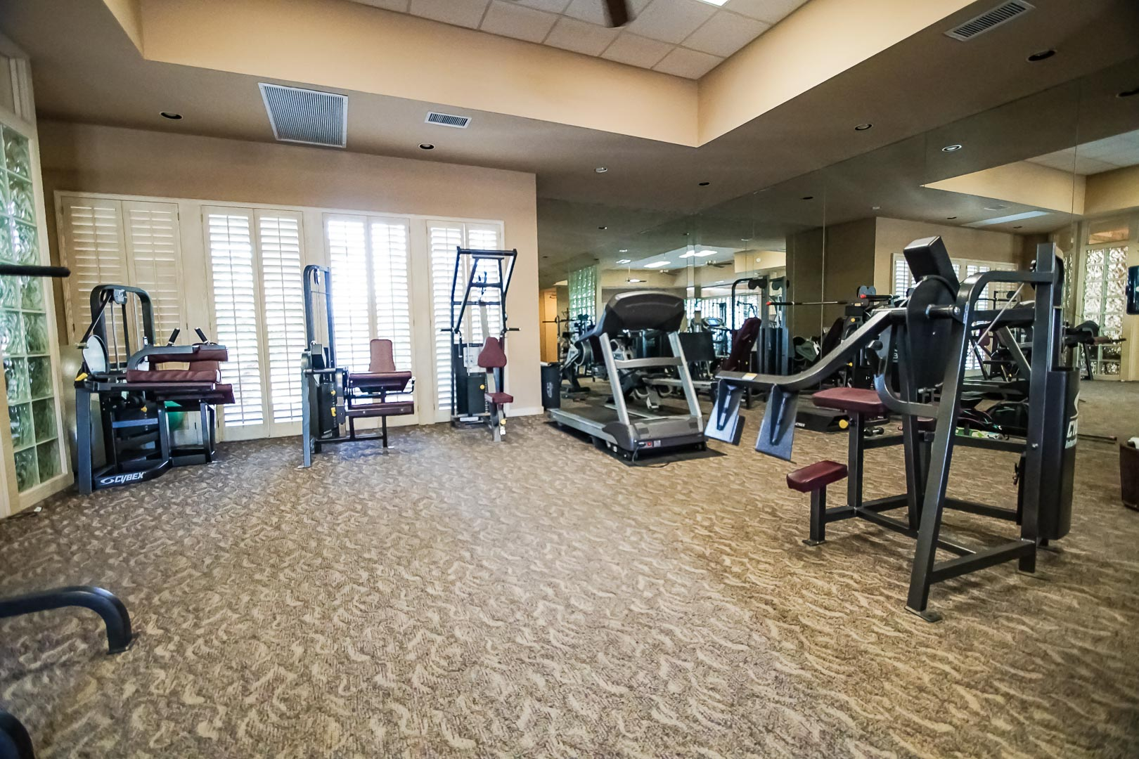 An expansive work-out facility at VRI Americas' Desert Breezes Resort in California