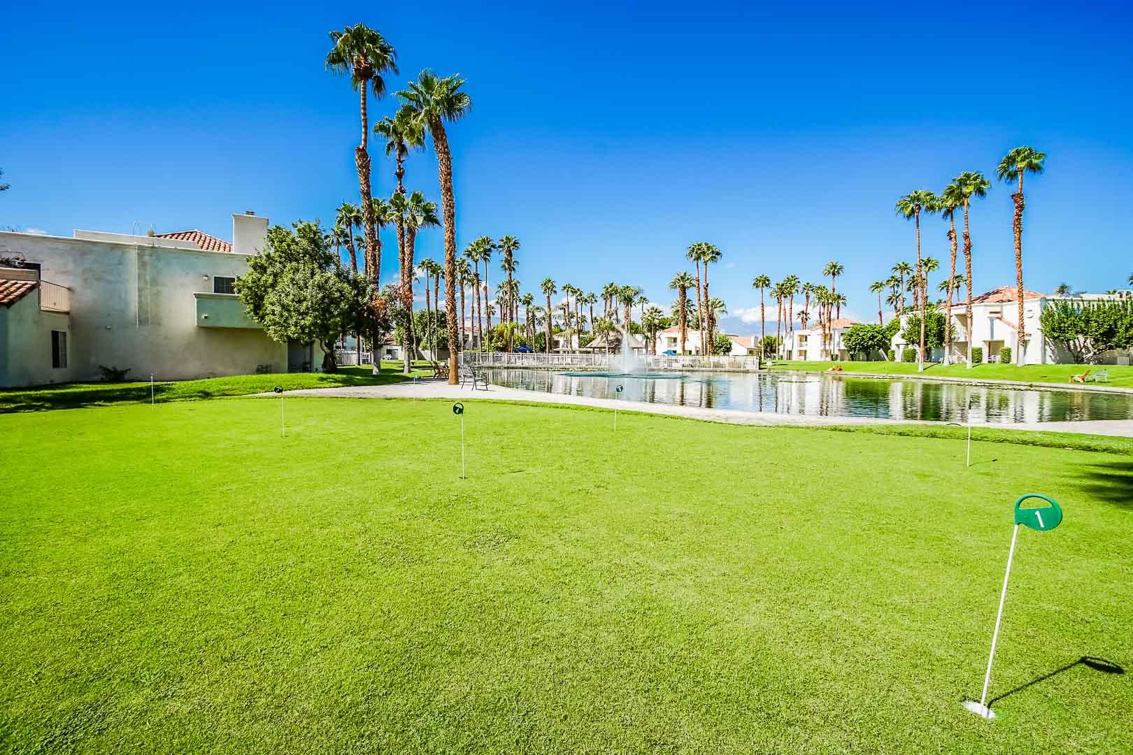A scenic view of the resort exterior at VRI Americas' Desert Breezes Resort in California