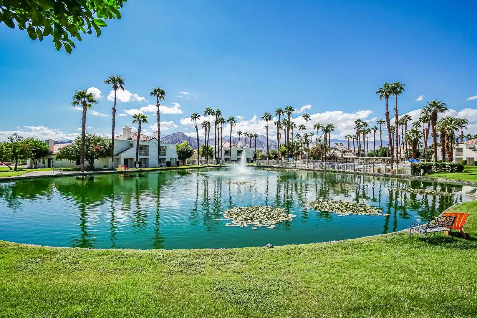 A peaceful view of the resort exterior at VRI Americas' Desert Breezes Resort in California