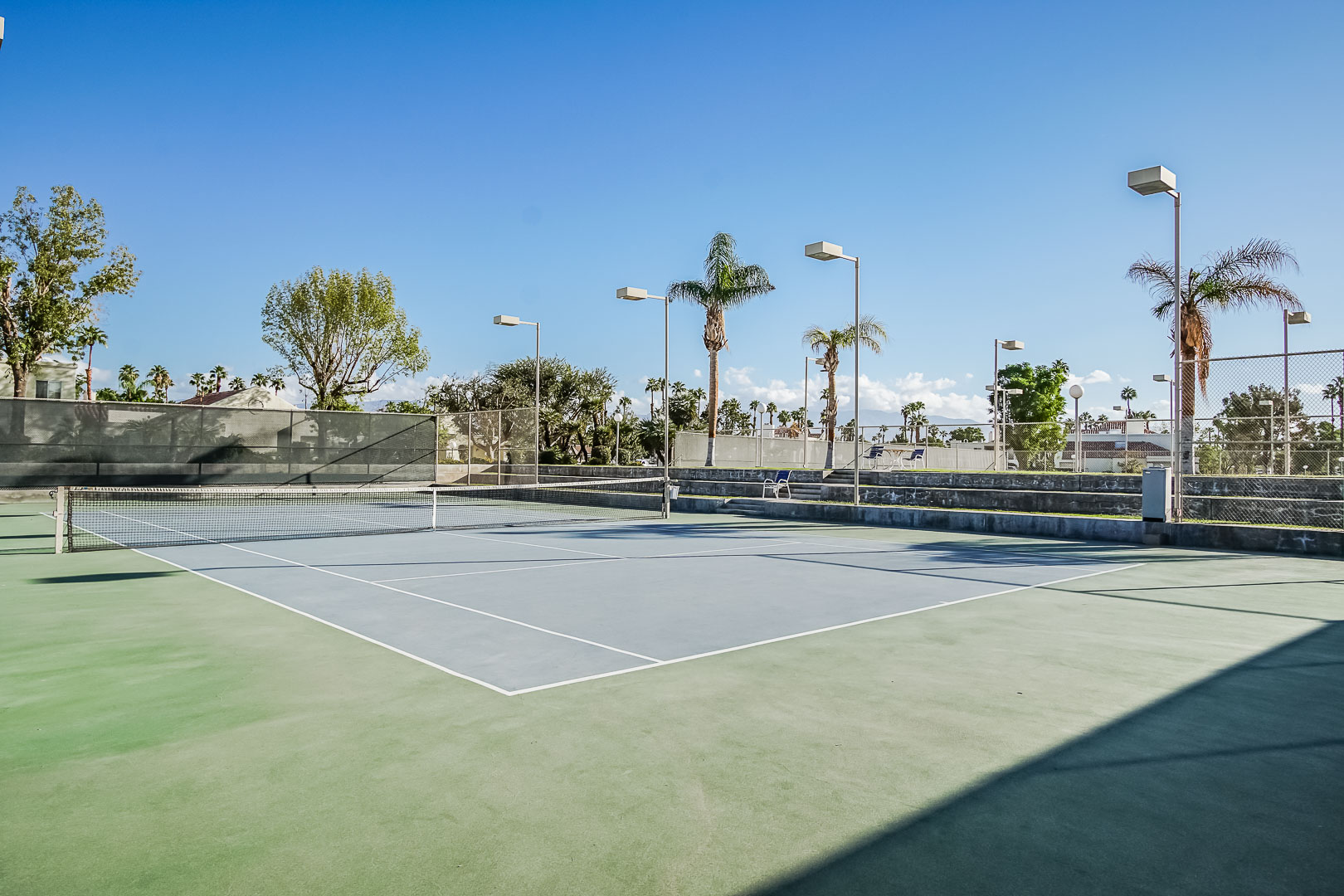 An inviting tennis court at VRI Americas' Desert Breezes Resort in California