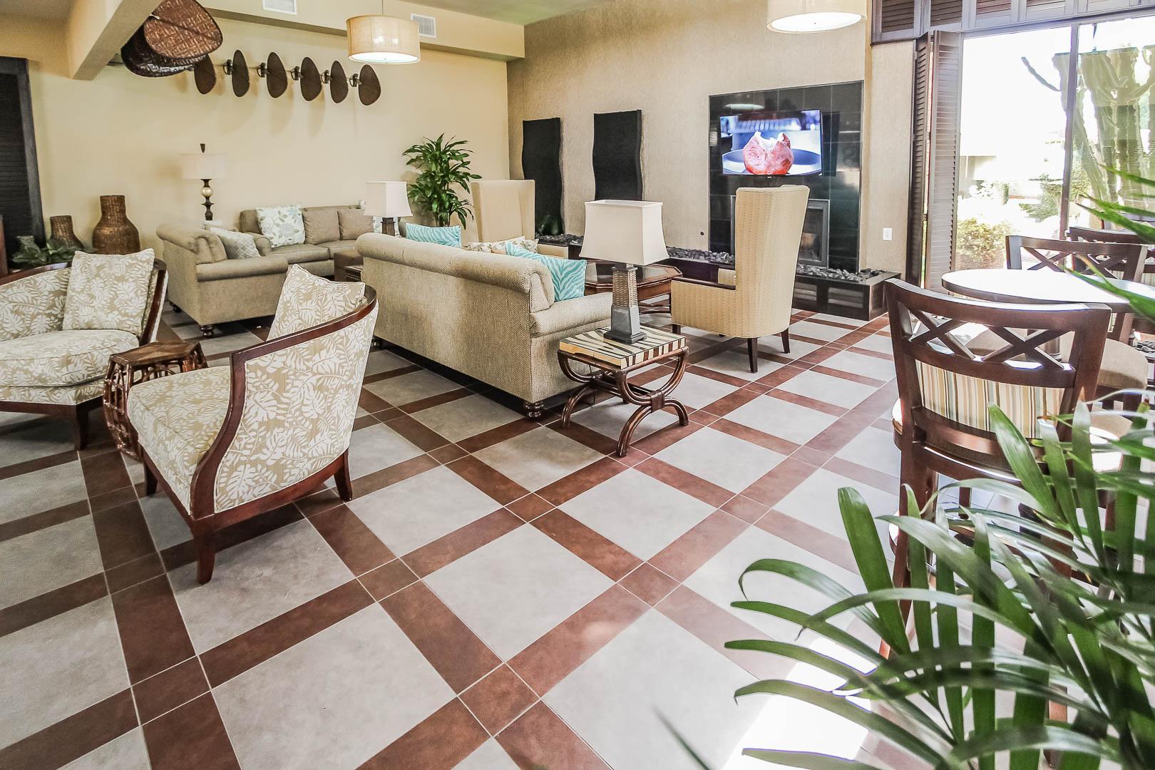 A refreshing lobby area at VRI's Desert Isle Resort in California.