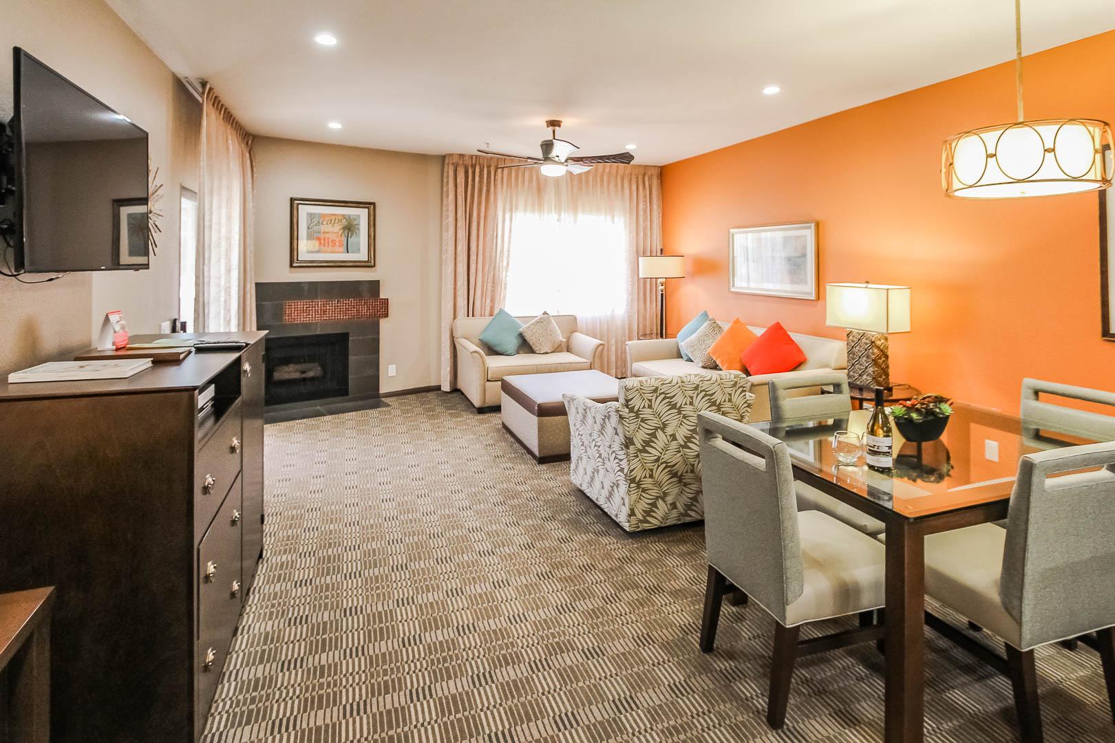 A modernized living and dining room area at VRI's Desert Isle Resort in California.