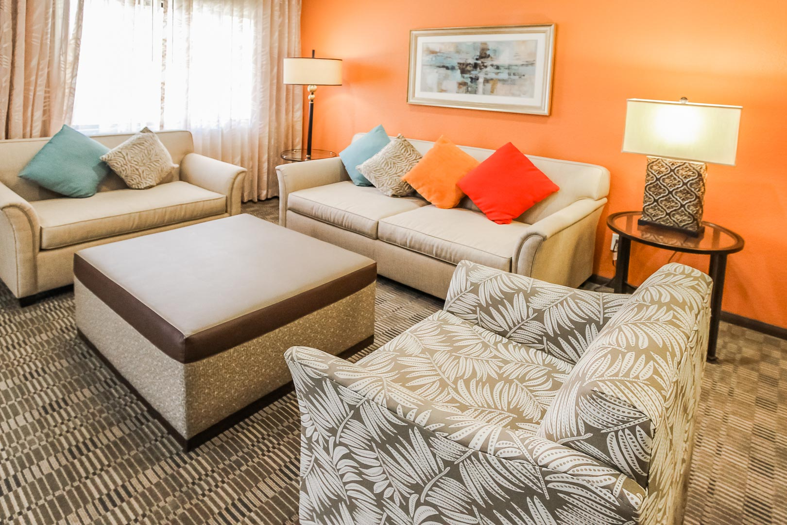 A colorful and modernized living room area at VRI's Desert Isle Resort in California.