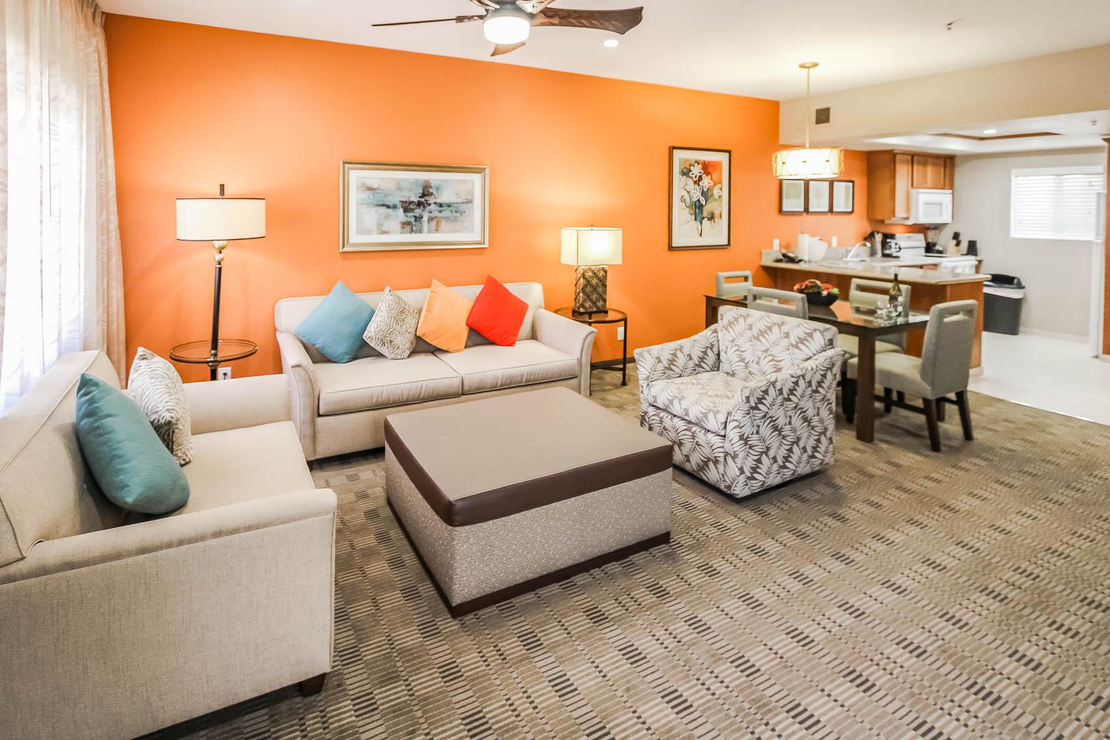 An expansive living room area at VRI's Desert Isle Resort in California.