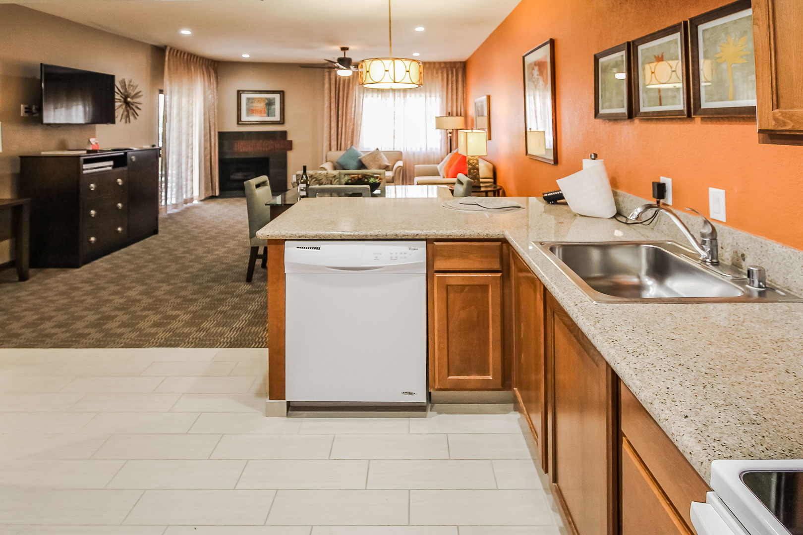An expansive kitchen and dining area unit at VRI's Desert Isle Resort in California.