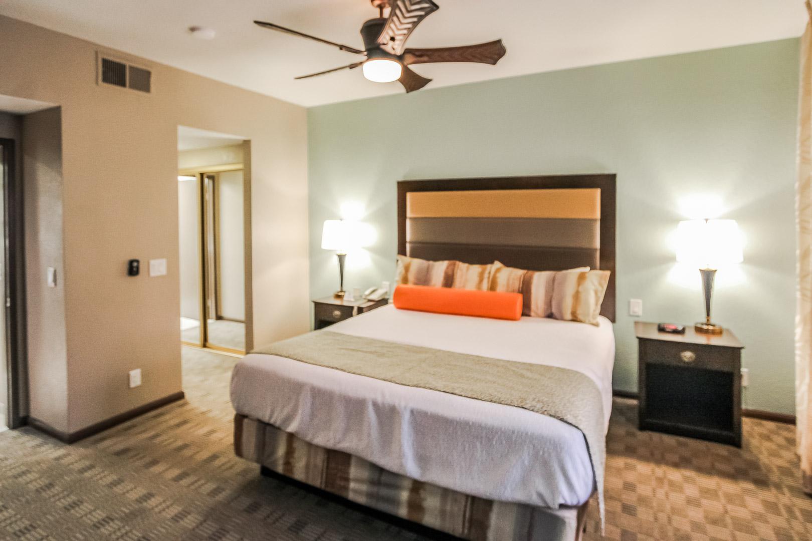 An expansive master bedroom at VRI's Desert Isle Resort in California.