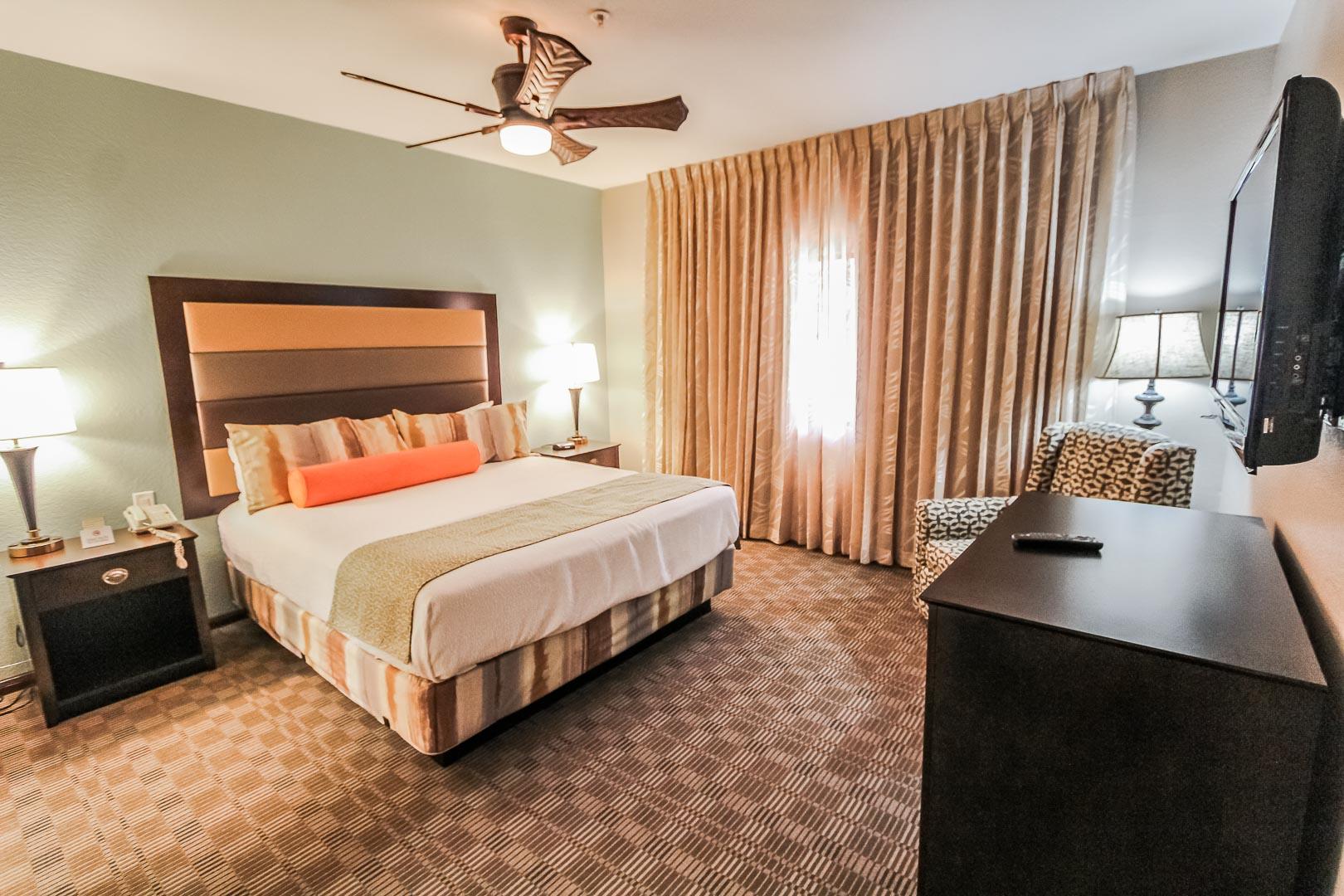 A beautiful master bedroom at VRI's Desert Isle Resort in California.