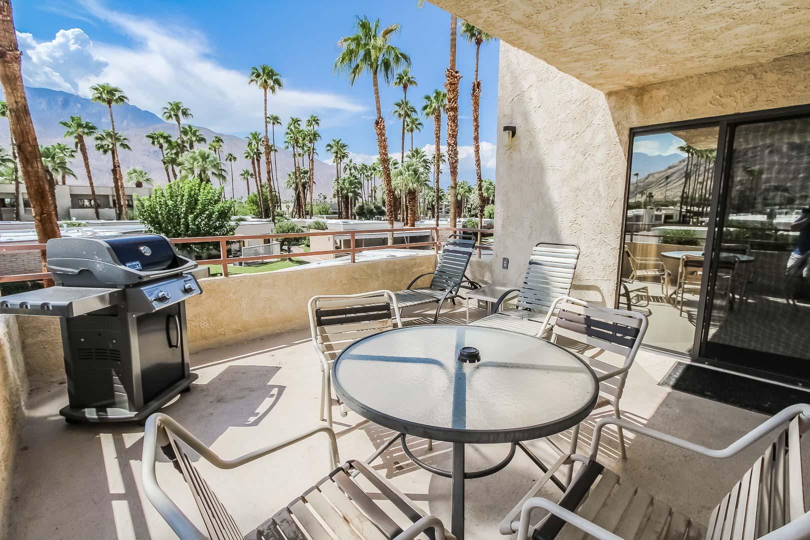A relaxing balcony view at VRI's Desert Isle Resort in California.