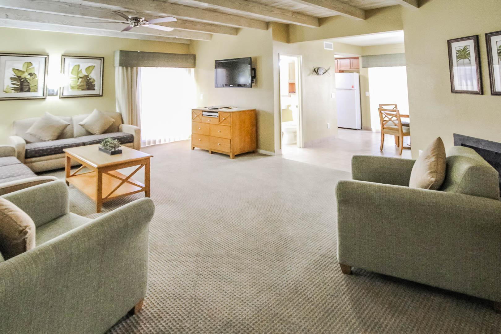 Spacious living room area at VRI's Desert Isle Resort in California.