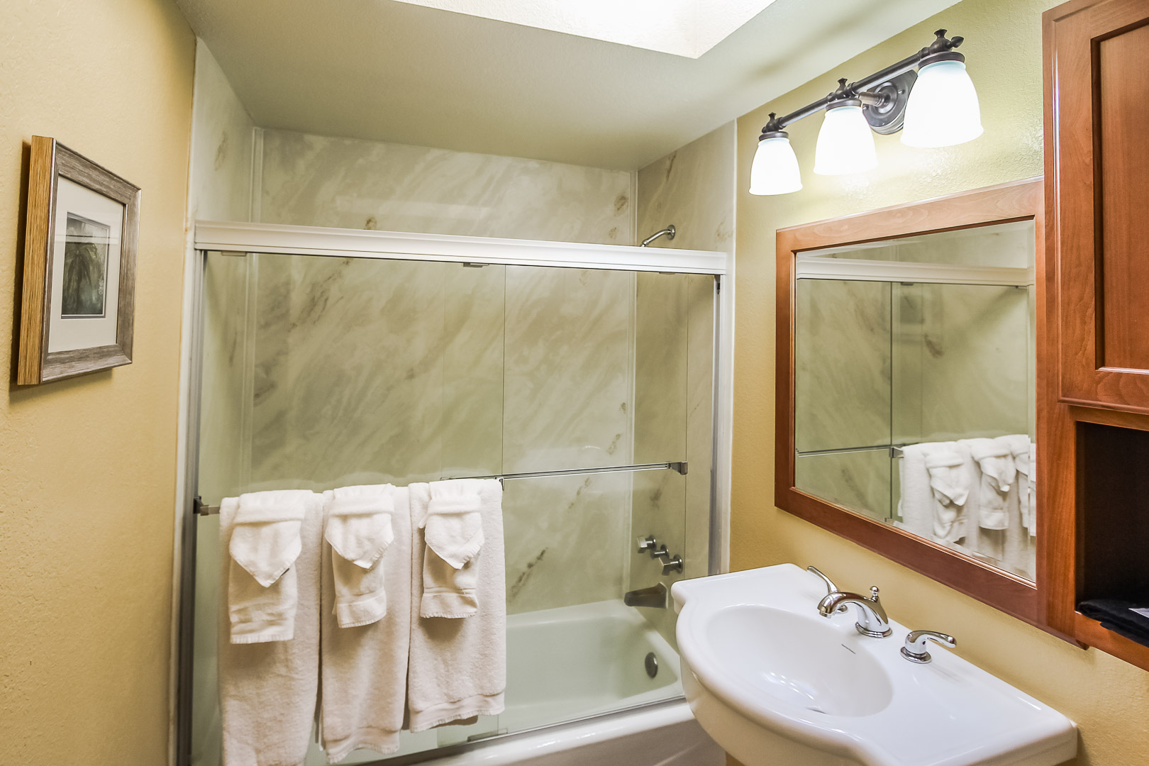 A clean bathroom at VRI's Desert Isle Resort in California.