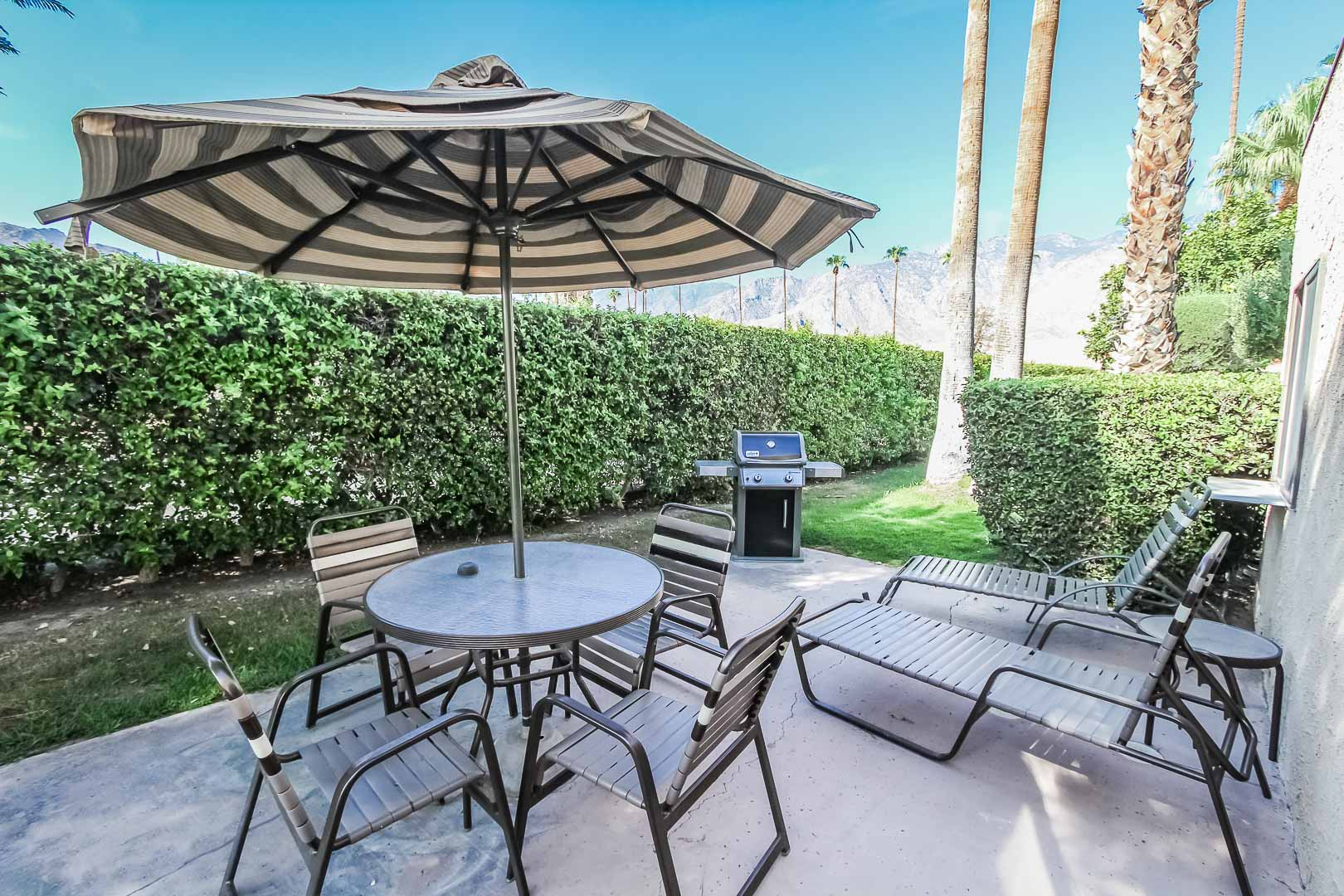 A spacious patio area at VRI's Desert Isle Resort in California.