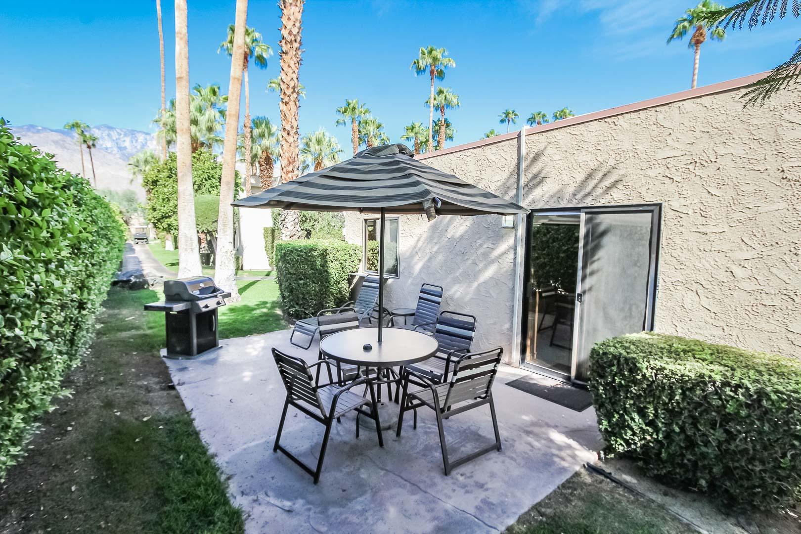 A peaceful patio area at VRI's Desert Isle Resort in California.