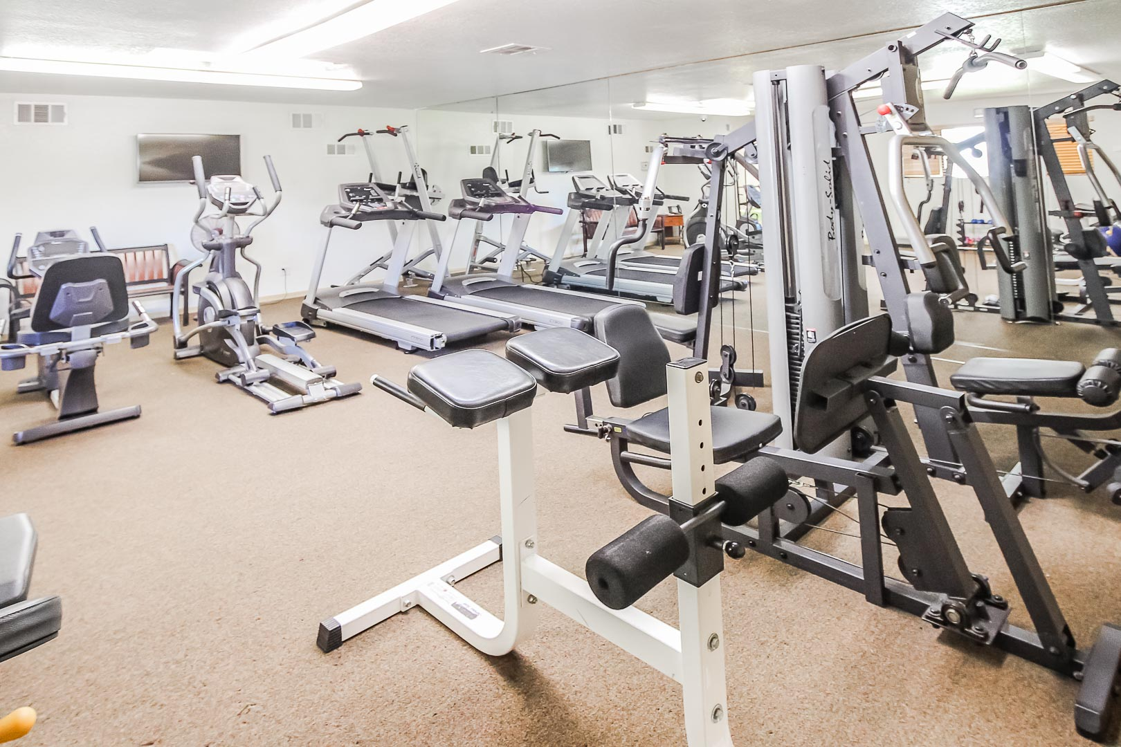 Fully equipped exercise room at VRI's Desert Isle Resort in California.