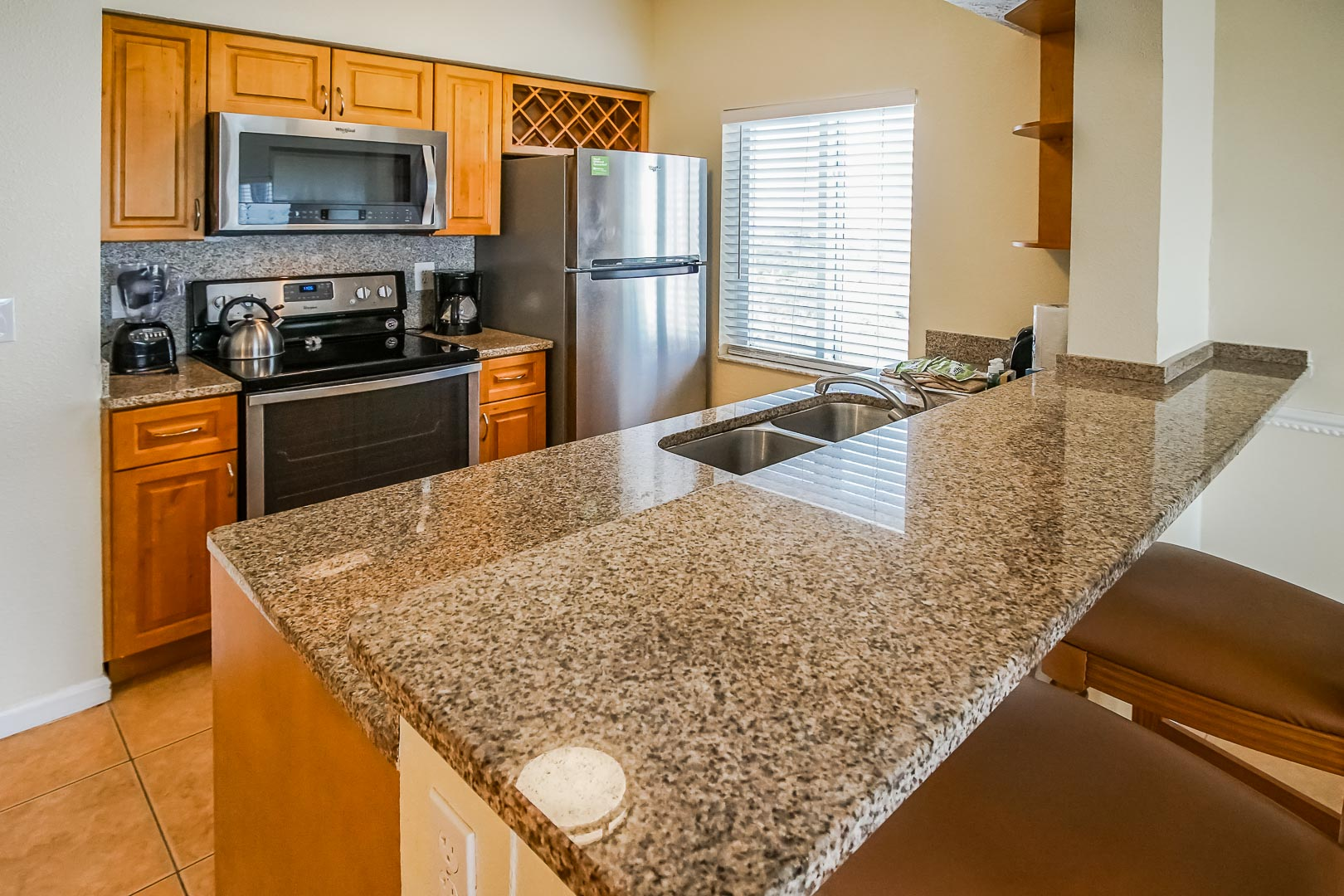 A fully renovated kitchen at VRI's Discovery Beach Resort in Cocoa Beach, Florida.