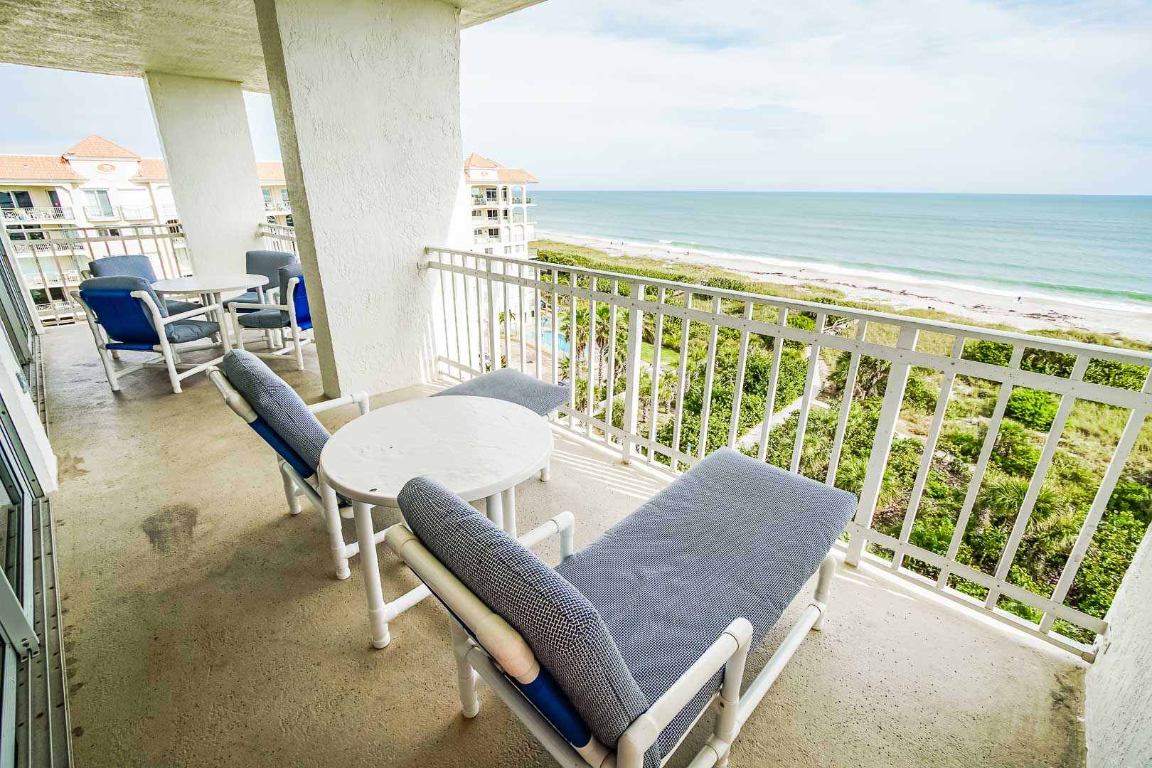 A balcony ocean front at VRI's Discovery Beach Resort in Cocoa Beach, Florida.