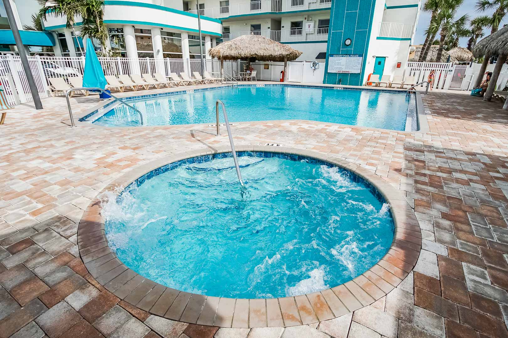 An outdoor Jacuzzi tub at VRI's Discovery Beach Resort in Cocoa Beach, Florida.