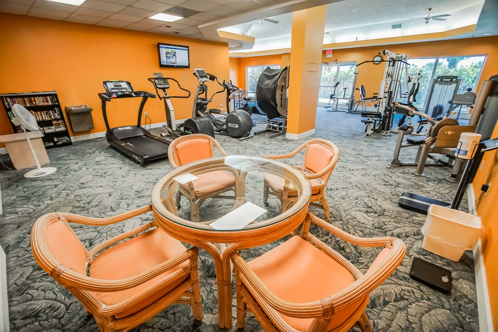 An exercise room at VRI's Discovery Beach Resort in Cocoa Beach, Florida.