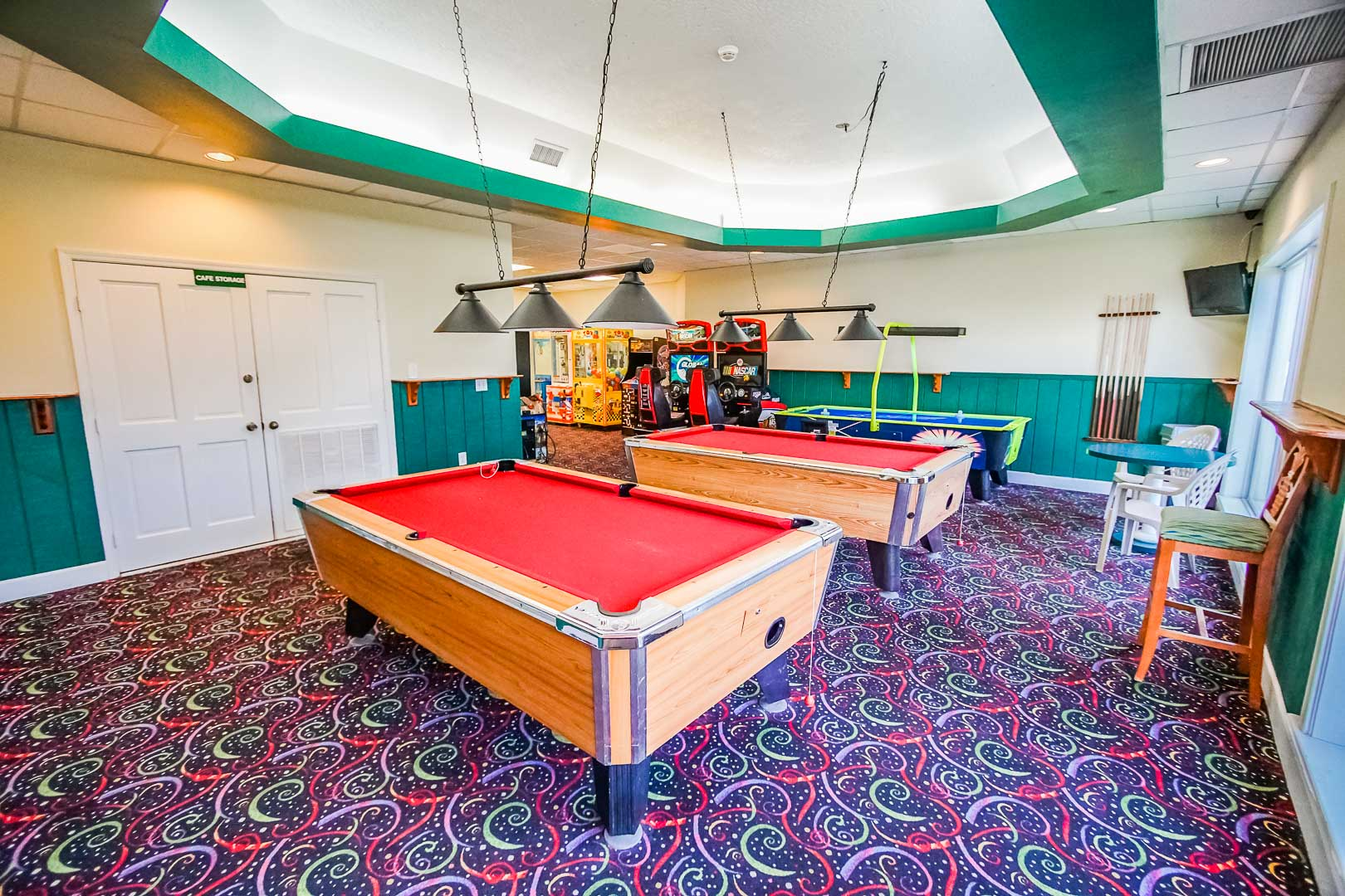 A vibrant game room at VRI's Discovery Beach Resort in Cocoa Beach, Florida.