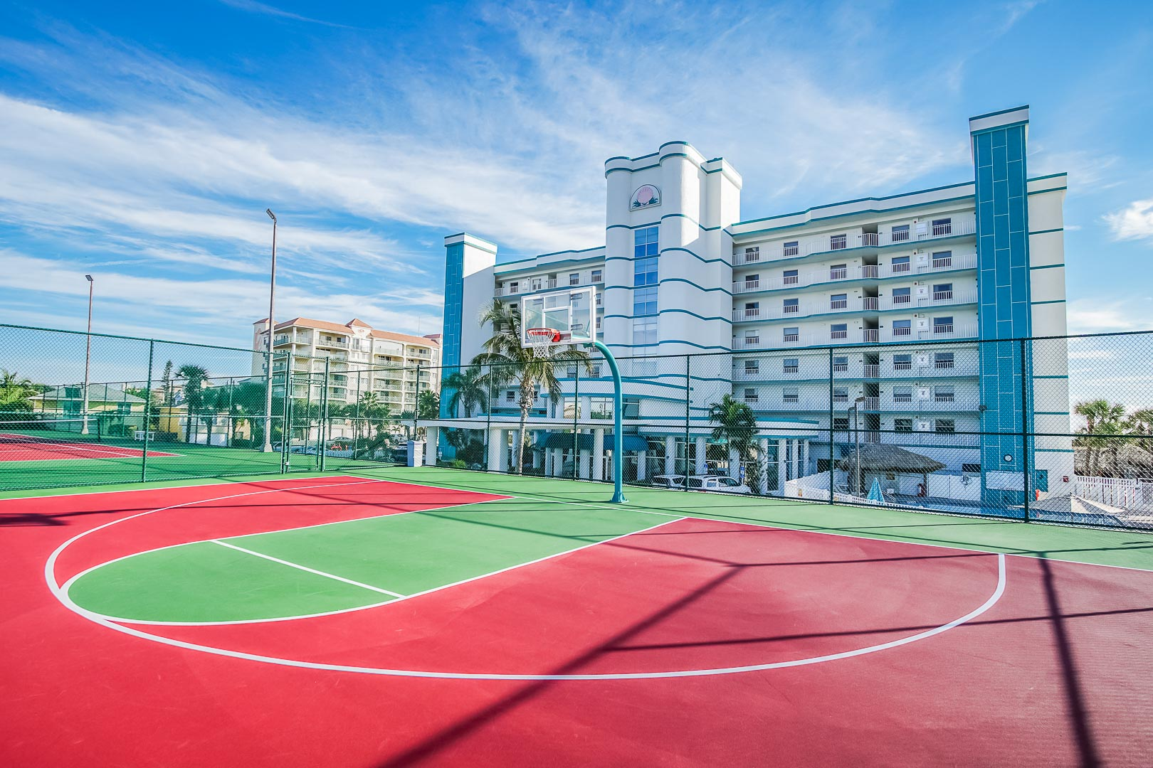 A full size outdoor basket ball court at VRI's Discovery Beach Resort in Cocoa Beach, Florida.