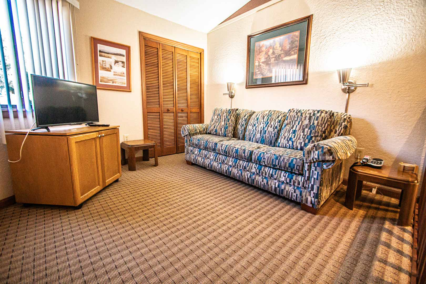 An expansive living room area at VRI's Fairways of the Mountains in North Carolina
