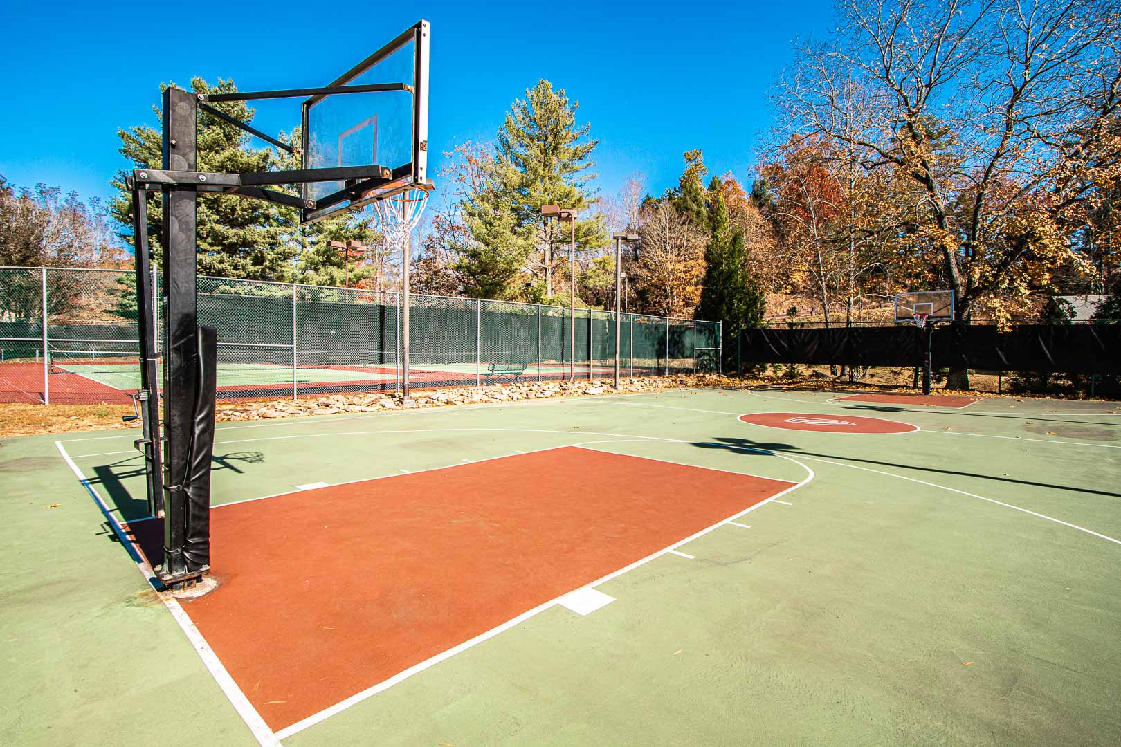 Outdoor basketball courts available at VRI's Fairways of the Mountains in North Carolina.