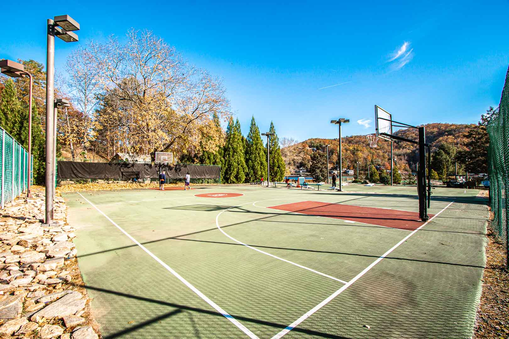 The outdoor basketball courts at VRI's Fairways of the Mountains in North Carolina.