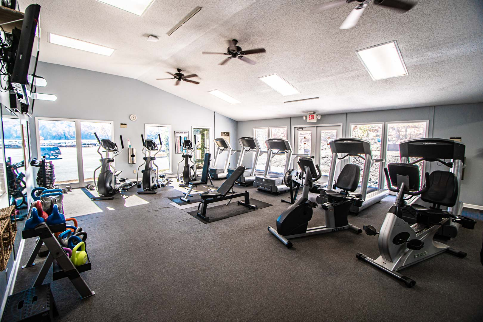 The spacious exercise room at VRI's Fairways of the Mountains in North Carolina.