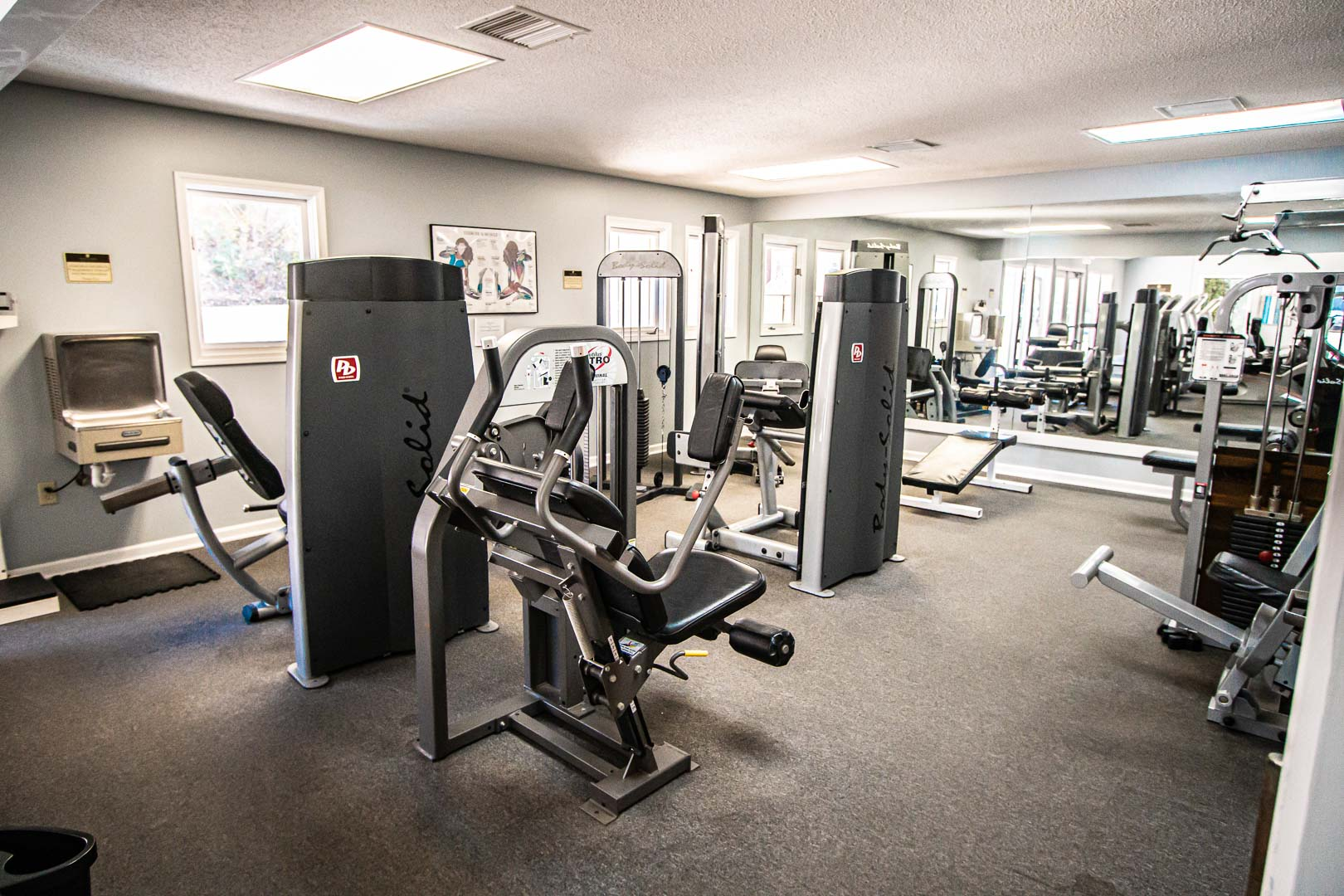 A spacious exercise room at VRI's Fairways of the Mountains in North Carolina.