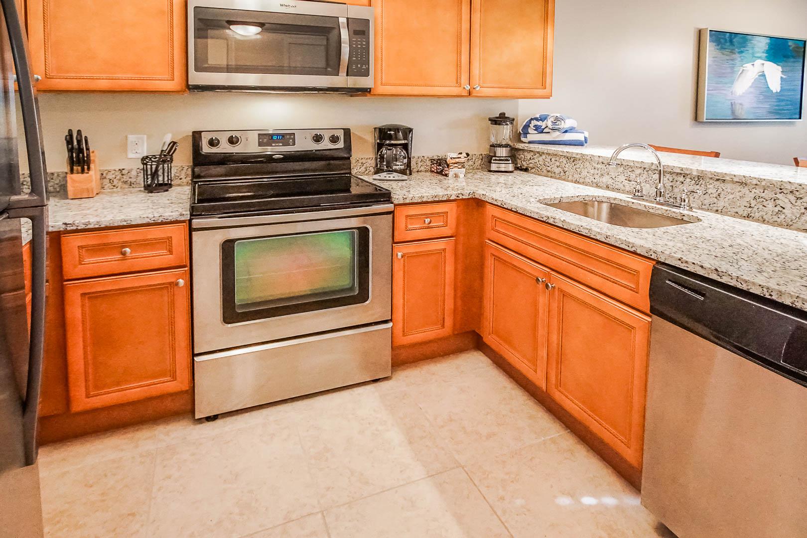 A spacious kitchen area at VRI's Fantasy World Resort in Florida.