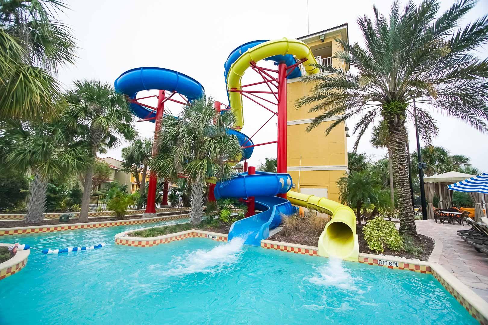 A fun-filled water-slide at VRI's Fantasy World Resort in Florida.