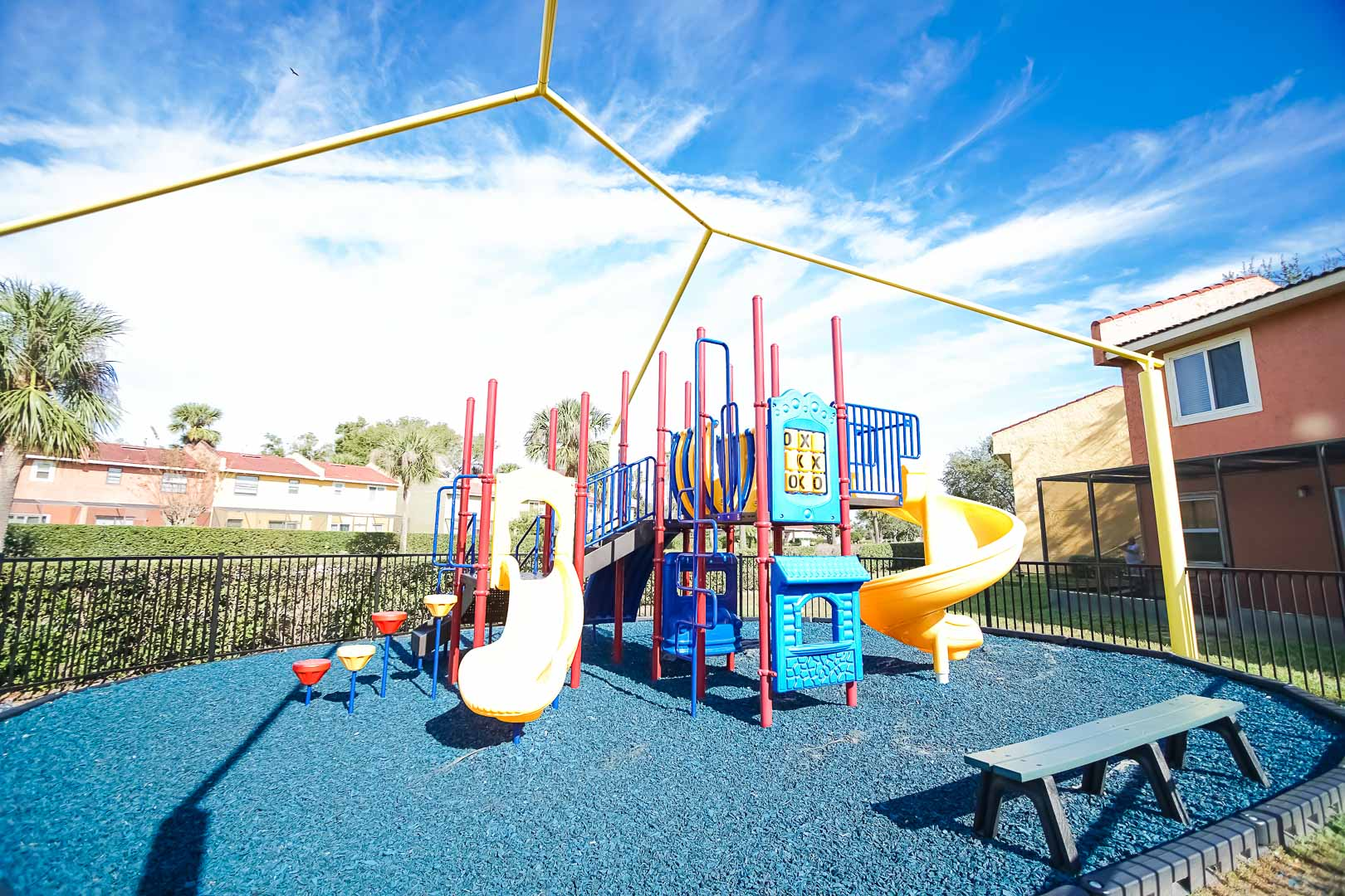 A colorful playground area at VRI's Fantasy World Resort in Florida.
