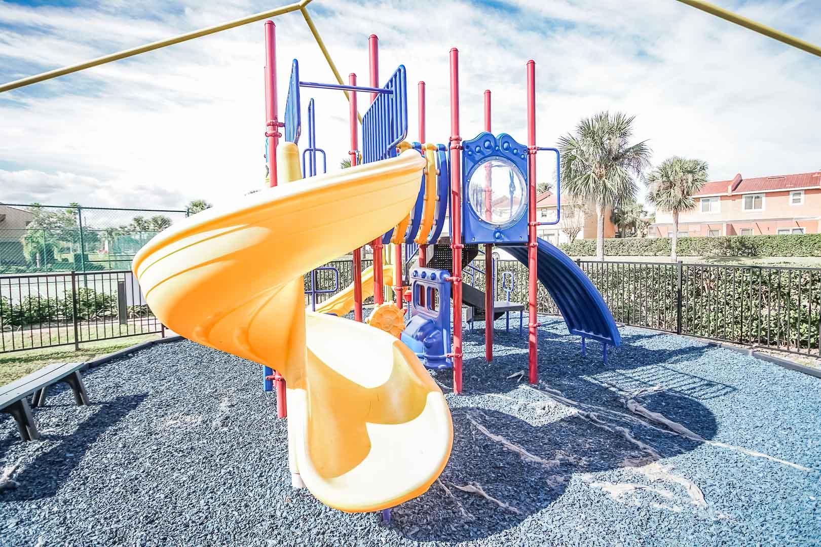 A colorful playground at VRI's Fantasy World Resort in Florida.