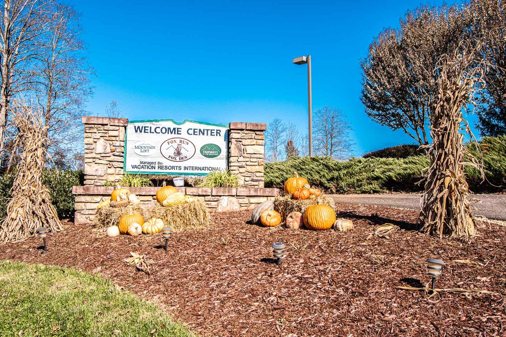 A welcoming resort entrance at VRI's Fox Run Resort in North Carolina.