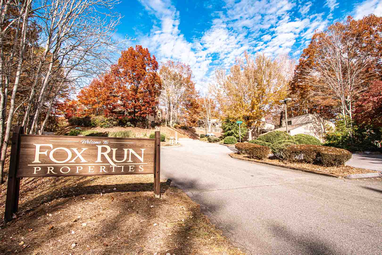 The resort signage at VRI's Fox Run Resort in North Carolina.