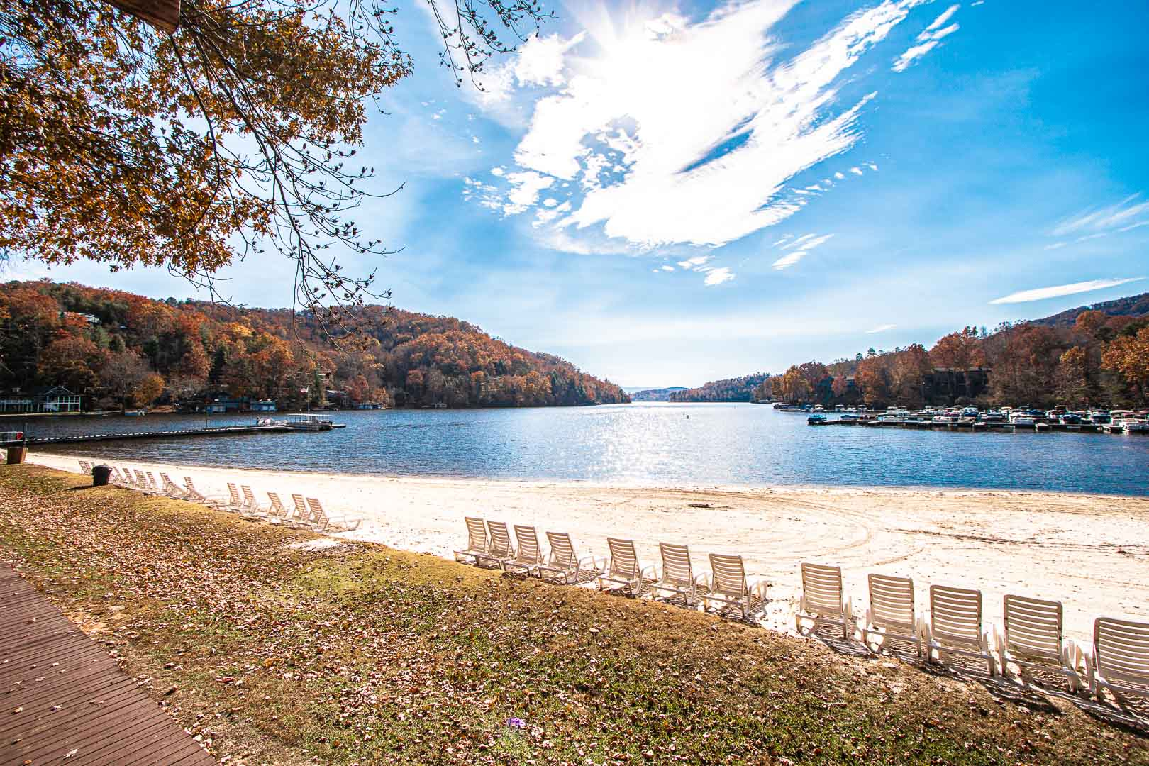 A relaxing lake view at VRI's Fox Run Resort in North Carolina.