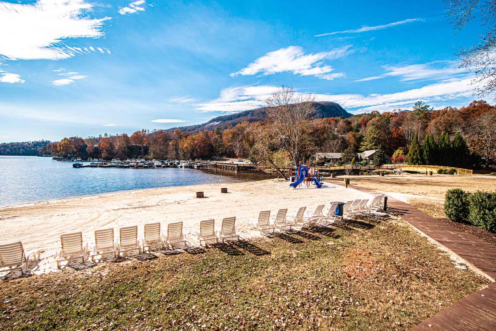 A breathtaking view from the lake at VRI's Fox Run Resort in North Carolina.