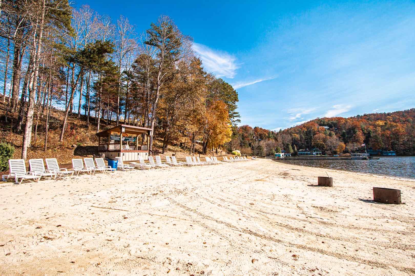 A peaceful view from the lake at VRI's Fox Run Resort in North Carolina.