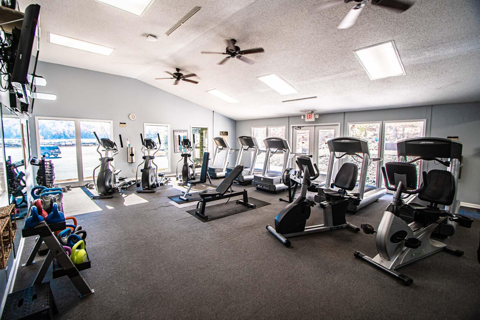 A spacious exercise room at VRI's Fox Run Resort in North Carolina.