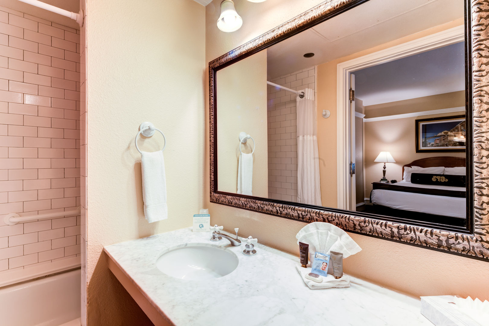 A clean bathroom at VRI's Gaslamp Plaza Suites in San Diego, California.