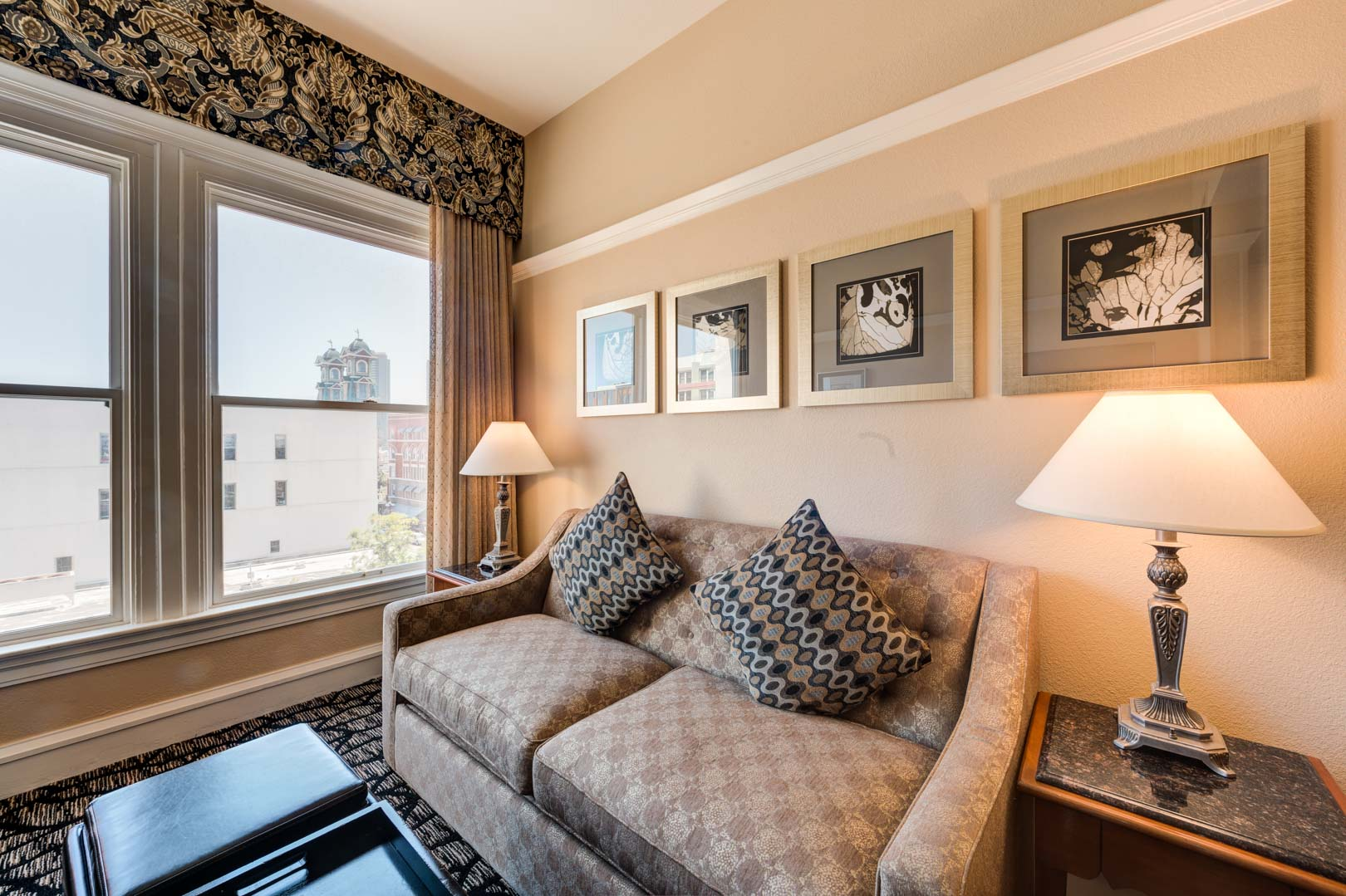A renovated living room at VRI's Gaslamp Plaza Suites in San Diego, California.