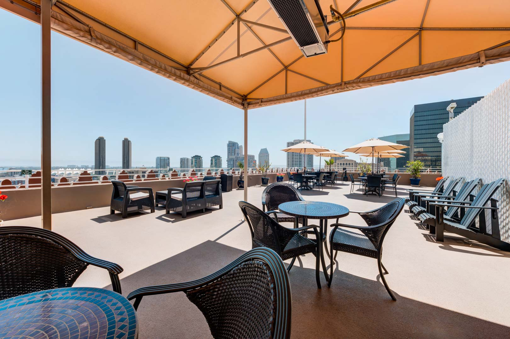 A spacious patio deck at VRI's Gaslamp Plaza Suites in San Diego, California.